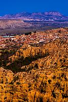 View of Badlands from Mirador del Fin del Mundo looking to the town of Purullena, near Guadix, Granada Province, Andalusia, Spain.