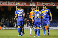 Nat Knight-Percival of Shrewsbury Town (20) is sent off during the Sky Bet League 2 match at Kenilworth Road, Luton<br /> Picture by David Horn/Focus Images Ltd +44 7545 970036<br /> 08/01/2015