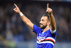 24.01.2018, Stadio Luigi Ferraris, Genua, ITA, Serie A, Sampdoria Genua vs AS Roma, 3. Runde, im Bild quagliarella fabio esulta dopo il gol del 1-0 // quagliarella fabio esulta dopo il gol del 1-0 during the Italian Serie A 3th round match between Sampdoria Genua and AS Roma at the Stadio Luigi Ferraris in Genua, Italy on 2018/01/24. EXPA Pictures © 2018, PhotoCredit: EXPA/ laPresse/ Tano Pecoraro<br /> <br /> *****ATTENTION - for AUT, SUI, CRO, SLO only*****
