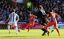 Jesus Navas of Manchester City shoots as Joel Coleman of Huddersfield Town is caught off his line - Mandatory by-line: Matt McNulty/JMP - 18/02/2017 - FOOTBALL - The John Smith's Stadium - Huddersfield, England - Huddersfield Town v Manchester City - Emirates FA Cup fifth round