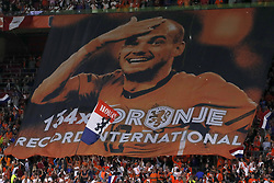 Banner of Wesley Sneijder of Holland during the International friendly match match between The Netherlands and Peru at the Johan Cruijff Arena on September 06, 2018 in Amsterdam, The Netherlands