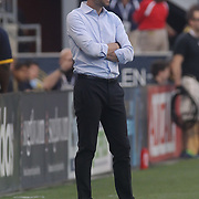 Columbus Crew SC Manager GREGG BERHALTER watches the game from the sidelines Wednesday, July. 26, 2017, at Talen Energy Stadium in Chester, PA.