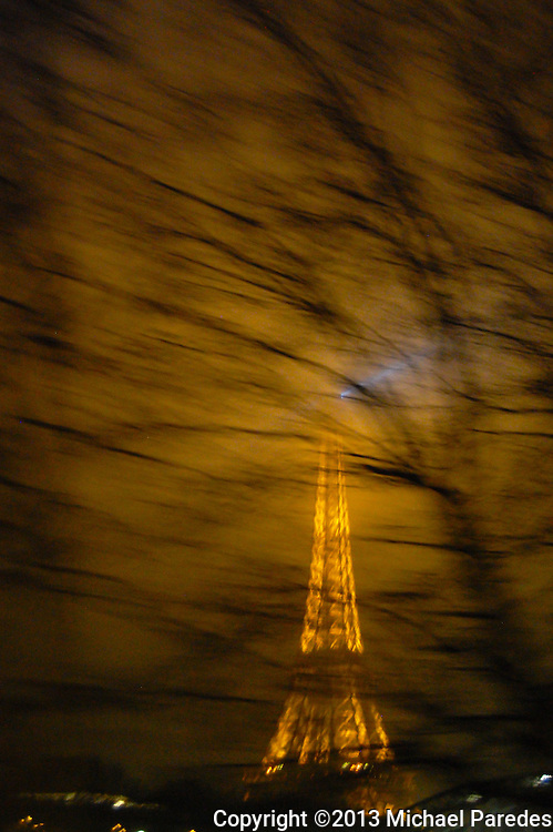 The Tour Eiffel seen from a speeding cab on a misty evening