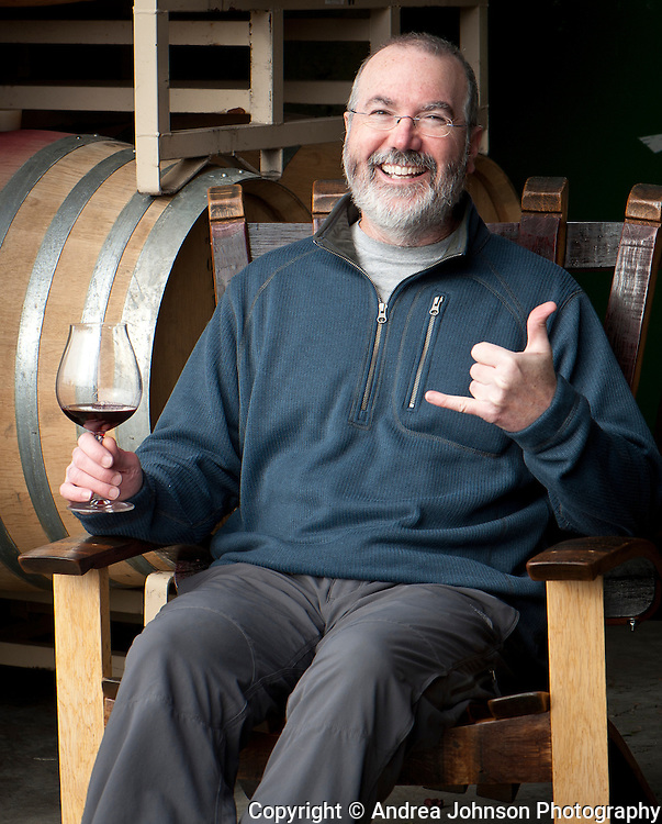 John Velko, Z'IVO proprietor and winemaker , relaxing before a tasting where his wine is made at Walnut City Wineworks, a small consortium winery in the heart of  the Pinot Quarter in McMinnville.  Oregon