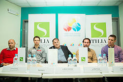 Andrej Krasevec, Blaz Kavcic, Marko Umberger, Blaz Trupej and Gregor Krusic  at press conference during Istenic doubles Tournament and Slovenian Tennis personality of the year 2014 annual awards presented by Slovene Tennis Association TZS , on December 6, 2014 in Millenium Centre, BTC, Ljubljana, Slovenia. Photo by Vid Ponikvar / Sportida