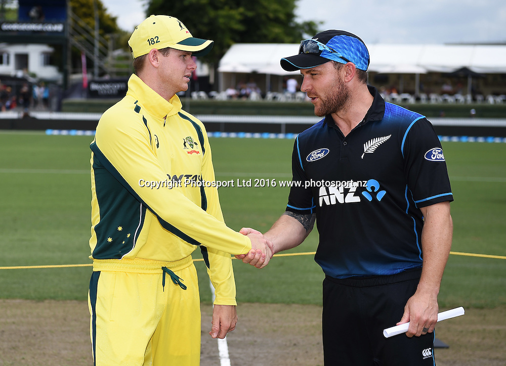 Captains Brendon McCullum and Steve Smith. New Zealand Black Caps v Australia, Chappell Hadlee Trophy Match 3. ANZ ODI Cricket Series. Seddon Park, Hamilton, New Zealand. Monday 8 February 2016. Copyright photo: Andrew Cornaga / www.photosport.nz