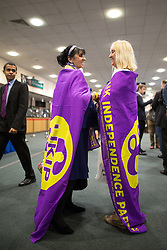 © Licensed to London News Pictures . 25/09/2015 . Doncaster , UK . UKIP supporters , mother and daughter BETTY DEARDEN and LESLEY NICHOLLS (from Salford) at the 2015 UKIP Party Conference at Doncaster Racecourse , this morning (Friday 25th September 2015) . Photo credit : Joel Goodman/LNP