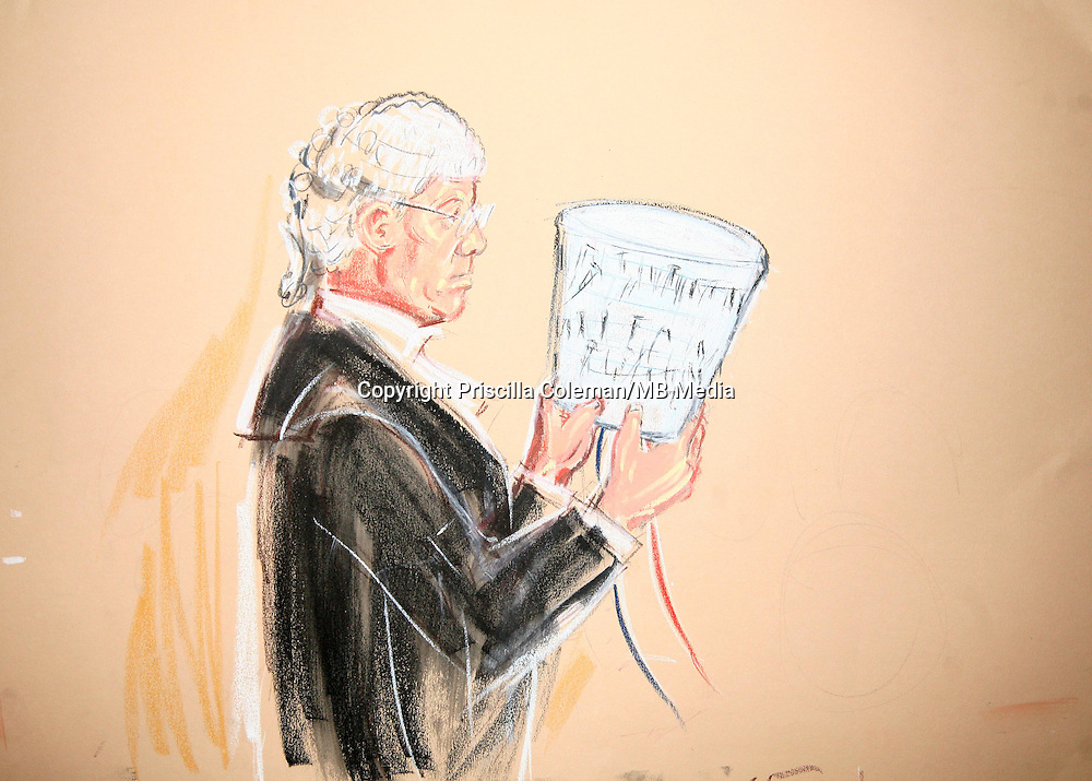 ©Priscilla Coleman ITV News..Supplied by: Photonews Service Ltd Old Bailey..Pic shows:NIGEL SWEENY QC AT WOOLWICH CROWN COURT TODAY, WHERE HE IS HOLDING A CONTAINER AS USED BY THE 21 JULY DEFENDANTS TO FACILITATE A BOMB...Illustration: Priscilla Coleman ITV News