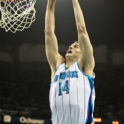 April 6, 2011; New Orleans, LA, USA; New Orleans Hornets power forward Jason Smith (14) against the Houston Rockets during the first half at the New Orleans Arena.   Mandatory Credit: Derick E. Hingle-US PRESSWIRE
