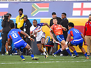 USA player Perry Baker looks for room during the game USA vs Samoa during the USA Sevens Rugby Series at Sam Boyd Stadium, Las Vegas, USA on 2 March 2018. Picture by Ian  Muir.