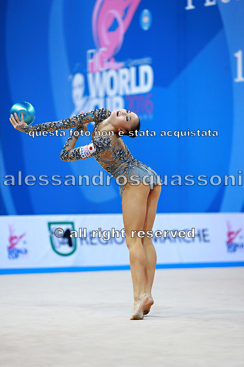 Kaho Minagawa of Japan competes during the Rhythmic Gymnastics Individual ball final  of the World Cup at Adriatic Arena on April 3, 2016 in Pesaro, Italy. She was born 20 August 1997 in Chiba Prefecture, Japan.