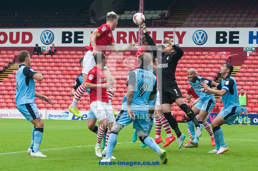Rotherham United goalkeeper Lee Camp punches clear a Barnsley corner kick during the Sky Bet Championship match at Oakwell, Barnsley<br /> Picture by Matt Wilkinson/Focus Images Ltd 07814 960751<br /> 27/08/2016