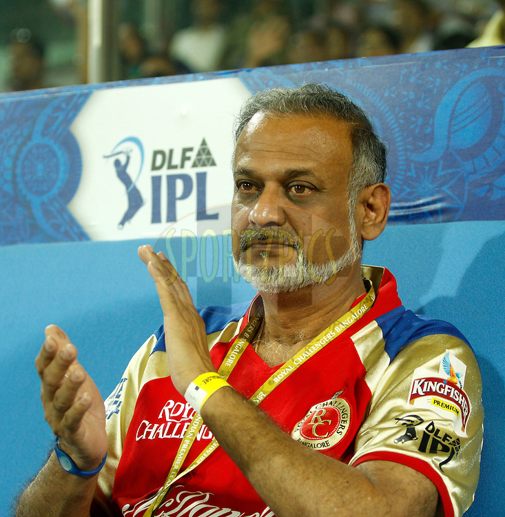 Brijesh Patel Team owner of Royal Challangers Banglore during match 67 of the the Indian Premier League ( IPL) 2012  between The Delhi Daredevils and the Royal Challengers Bangalore held at the Feroz Shah Kotla, Delhi on the 17th May 2012..Photo by Sandeep Shetty/IPL/SPORTZPICS