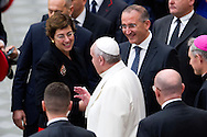Vatican City dec 19th 2015, pope's audience to railway employers and workers. In the picture pope Francis with Gioia Ghezzi, president Ferrovie dello Stato Italiane, and Renato Mazzoncini, CEO