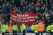 Protest banner in the Arsenal supporters, saying goodbye to Arsene Wenger during the The FA Cup fifth round match between Hull City and Arsenal at the KC Stadium, Kingston upon Hull, England on 8 March 2016. Photo by Mark P Doherty.