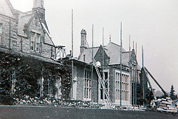 © London News Pictures. Collect picture shows the stone room being added to the property in 1904 . Previously unseen pictures of Beatrix potter with her family have been unearthed during the purchase and restoration of the Lingholm Estate, the Potter family holiday home, where Beatrix potter drew inspiration for many of her most famous characters. Famous books such as Peter Rabbit and Squirrel Nutkin were inspired by the surroundings of the Cumbria estate, which is being opened to the public for the first time. Photo credit: Andrew McCaren/LNP WORDS AVAILABLE HERE http://tinyurl.com/oyb7url
