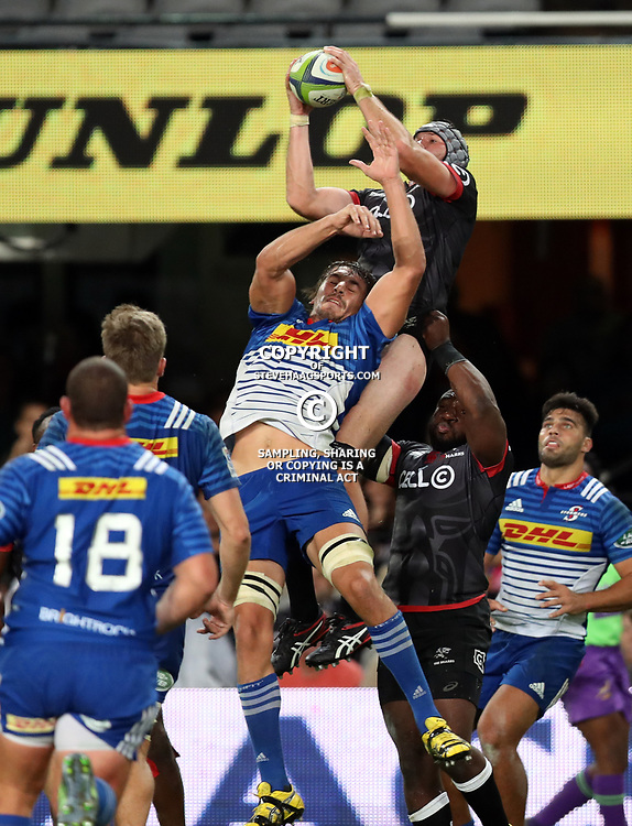 DURBAN, SOUTH AFRICA - MAY 27: Stephan Lewies of the Cell C Sharks out jumps Eben Etzebeth (vice-captain) of the DHL Stormers during the Super Rugby match between Cell C Sharks and DHL Stormers at Growthpoint Kings Park on May 27, 2017 in Durban, South Africa. (Photo by Steve Haag/Gallo Images)