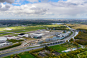 Nederland, Noord-Holland, Schiphol, 28-04-2017; overzicht Schiphol-Oost.<br /> Schiphol-Oost (East).<br /> luchtfoto (toeslag op standaard tarieven);<br /> aerial photo (additional fee required);<br /> copyright foto/photo Siebe Swart