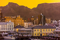 V&A Waterfront with Central Business District behind, Cape Town, South Africa.