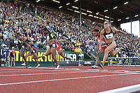 A general view of the finish of the 110m hurdles final during day 2 of the U.S. Olympic Trials for Track & Field at Hayward Field in Eugene, Oregon, USA 23 Jun 2012..(Jed Jacobsohn/for The New York Times)....