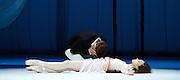 Triple Bill <br /> Marguerite & Armand<br /> by Frederick Ashton <br /> Mariinsky Ballet, Royal Opera House, Covent Garden, London, Great Britain <br /> 11th August 2014 <br /> <br /> Diana Vishneva as Marguerite<br /> <br /> Konstantin Zverev as Armand<br /> <br /> Andrei Yakovlev as Father <br /> <br /> <br /> Photograph by Elliott Franks <br /> Image licensed to Elliott Franks Photography Services