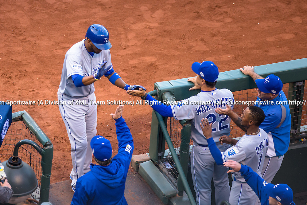 October 24, 2014: Kansas City Royals shortstop Alcides Escobar (2) celebrates scoring off a ground out by Kansas City Royals center fielder Lorenzo Cain (6) (not shown), in the first inning during game three of the World Series between the San Francisco Giants and the Kansas City Royals at AT&T Park in San Francisco, California, USA.
