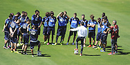 Italy head coach Cesare Prandelli talks to his squad during training at Portobello Resort, Natal<br /> Picture by Stefano Gnech/Focus Images Ltd +39 333 1641678<br /> 22/06/2014