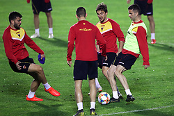 Players during the training session at the Football Association of Montenegro, Podgorica.