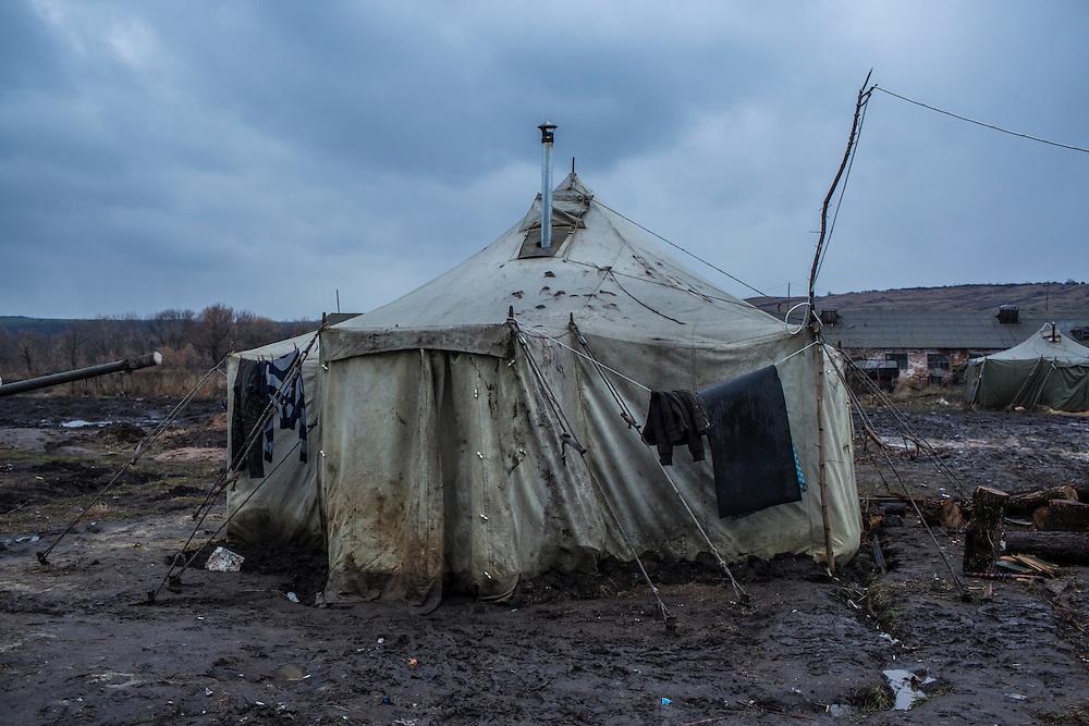 A tent where Ukrainian soldiers live at an artillery depot on Monday, December 14, 2015 near Slovyansk, Ukraine.