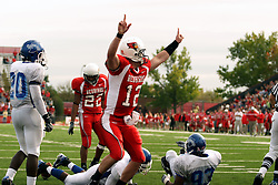 13 October 2007: Reserve quarterback Kevin Brockway leaps with excitement after scoring a keeper TD in the 4th quarter.  The Indiana State Sycamores were jacked 69-17 by the Illinois State Redbirds at Hancock Stadium on the campus of Illinois State University in Normal Illinois.