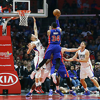 07 November 2016: Detroit Pistons forward Tobias Harris (34) goes for the jump shot during the LA Clippers 114-82 victory over the Detroit Pistons, at the Staples Center, Los Angeles, California, USA.
