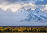 An Autumn snow storm clears out over the Teton Mountains,Grand Teton Nationa; Park, Wyoming