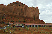 View of Gouldings lodge in Monument Valley on the southern border of Utah with northern Arizona. The valley lies within the range of the Navajo Nation Reservation. The Navajo name for the valley is Tsé Bii' Ndzisgaii - Valley of the Rocks.