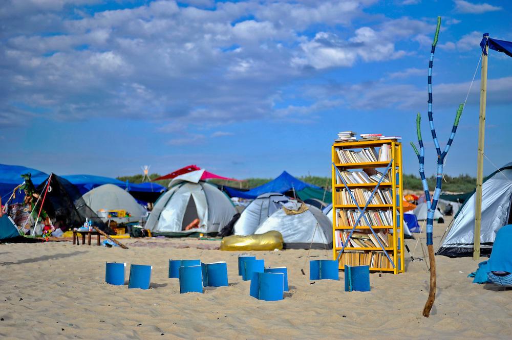"The Library camp at ""Mid Burn"", the Israeli ""Burning Man Festival"" held at ""Habonim"" beach north of Israel October 4-6, 2012."