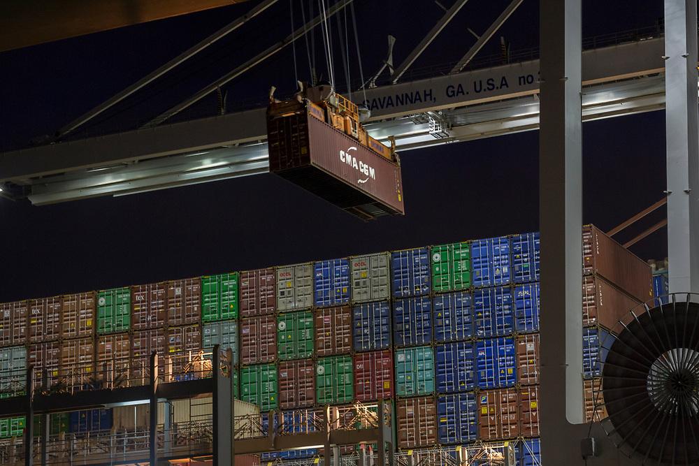 Jockey trucks and ship to shore cranes work the Evergreen container ship Ever Liven the Georgia Ports Authority's Port of Savannah Garden City Terminal, Friday, Sept., 20, 2019, in Savannah, Ga.  (GPA Photo/Stephen B. Morton)