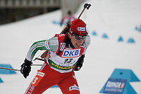 Sergey Sadovnikov (BLR) competes in the World Cup Biathlon men's Sprint Competition on March 13, 2009