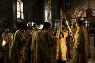 Priests and deacons with the Holy Gospel during Sunday Liturgy services at the Refectory Church of Sts. Anthony and Theodosius at the Kyiv-Pechersk Lavra on Sunday, October 7, 2018 in Kyiv, Ukraine.