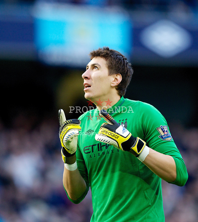 MANCHESTER, ENGLAND - Sunday, February 17, 2013: Manchester City's goalkeeper Costel Pantilimon celebrates his side's fourth goal against Leeds United during the FA Cup 5th Round match at the City of Manchester Stadium. (Pic by Vegard Grott/Propaganda)