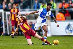 Ellis Harrison of Bristol Rovers is tackled by Matthew Kilgallon of Bradford City - Rogan/JMP - 20/01/2018 - FOOTBALL - Memorial Stadium - Bristol, England - Bristol Rovers v Bradford City - EFL Sky Bet League One.
