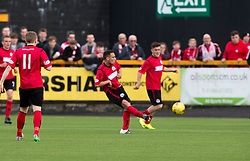 Brechin City's James Dale scoring their goal. half time : Alloa Athletic 2 v 1 Brechin City, Ladbrokes Championship Play-Off 2nd Leg at Alloa Athletic's home ground, Recreation Park, Alloa.