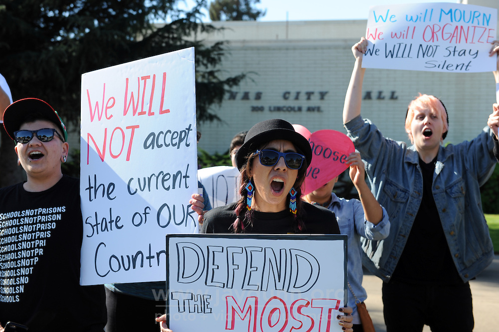A vocal group of protesters gathered at noon on Sunday, Nov 13th to denounce Donald Trump's racist, misogynistic comments in the weeks preceding the presidential election. Representing youth across the spectrum, the group in front of City Hall in Salinas demanded equality and respect.