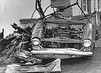 The tangled remains of the car in which RUC Reserve Constable Joseph Calvin, 42 years, married with one child, from Enniskillen, Co Fermanagh, N Ireland, died on 17th November 1972. The vehicle had been booby-trapped whilst he was on duty. The other reservist coming off duty had a miraculous escape. He was walking to his own car when the bomb detonated. He had sat chatting in his colleague's car whilst the car windows were demisting. 197211170632<br />