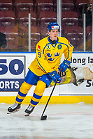 KELOWNA, BC - DECEMBER 18: Nils Lundkvist #9 of Team Sweden warms up with the puck against the Team Russia at Prospera Place on December 18, 2018 in Kelowna, Canada. (Photo by Marissa Baecker/Getty Images)***Local Caption***