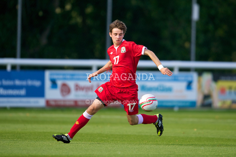 BANGOR, WALES - Thursday, August 30, 2012: Wales' Liam Smith in action against Poland during the International Friendly Under-16's match at the Nantporth Stadium. (Pic by David Rawcliffe/Propaganda)