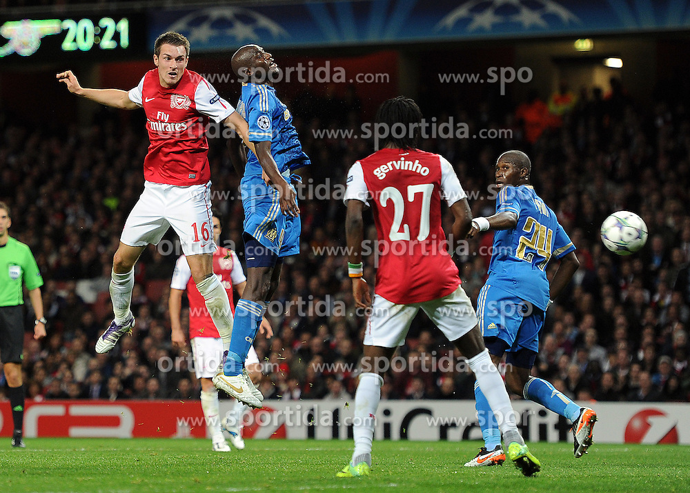 01.11.2011, Emirates Stadion, London, ENG, UEFA CL, Gruppe F, Arsenal FC (GBR) vs Olympique de Marseille (FRA), im Bild  Arsenal's Aaron Ramsey heads wide // during UEFA Champions League group F match between Arsenal FC (GBR) and Olympique de Marseille (FRA) at Emirates Stadium, London, United Kingdom on 01/11/2011. EXPA Pictures © 2011, PhotoCredit: EXPA/ Propaganda Photo/ Chris Brunskill +++++ ATTENTION - OUT OF ENGLAND/GBR+++++