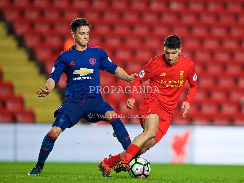 LIVERPOOL, ENGLAND - Monday, January 16, 2017: Liverpool's Paolo Alves in action against Manchester United's Josh Harrop during FA Premier League 2 Division 1 Under-23 match at Anfield. (Pic by David Rawcliffe/Propaganda)