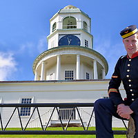 Halifax, Canada, Composite of Two Photos<br /> This is a composite of Halifax in Nova Scotia Providence, Canada. In the background is the Halifax Town Clock. This landmark on Citadel Hill was built in 1803. In the foreground is a man re-enacting a mid-1800s soldier from the Royal Artillery at Fort George. The fortress, which was built in 1856, is called the Halifax Citadel National Historic Site.
