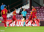 FYR Macedonia's Kire Markoski is congraulated after scoring the only goal of the game during Scotland Under-21 v FYR Macedonia,  UEFA Under 21 championship qualifier  at Tynecastle, Edinburgh. Photo: David Young<br /> <br />  - © David Young - www.davidyoungphoto.co.uk - email: davidyoungphoto@gmail.com