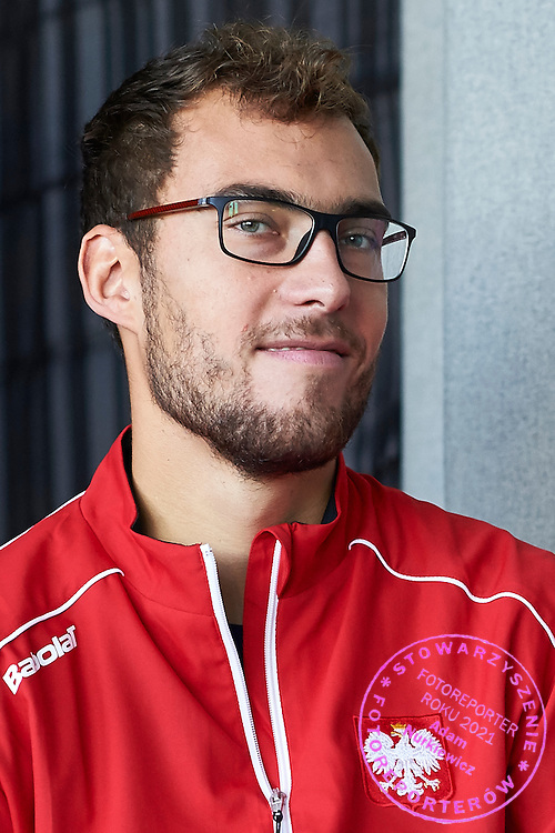 Jerzy Janowicz of Poland smiles during official draw one day before Davis Cup Tie World Group Play-off Poland v Slovakia at Mondo di Vinegre Restaurant in Gdynia, Poland.<br /> <br /> Poland, Gdynia, September 17, 2015<br /> <br /> Picture also available in RAW (NEF) or TIFF format on special request.<br /> <br /> For editorial use only. Any commercial or promotional use requires permission.<br /> <br /> Adam Nurkiewicz declares that he has no rights to the image of people at the photographs of his authorship.<br /> <br /> Mandatory credit:<br /> Photo by &copy; Adam Nurkiewicz / Mediasport