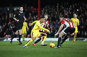 Burnley striker Andre Grey has been causing all kinds of havoc on his return during the Sky Bet Championship match between Brentford and Burnley at Griffin Park, London, England on 15 January 2016. Photo by Matthew Redman.
